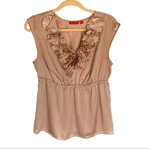 Elle Dusty Pink Applique Roses Sleeveless Blouse